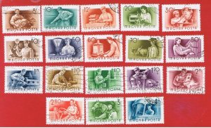 Hungary #1116--1133  VF used  Occupations  Free S/H