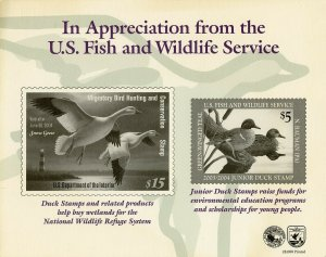 US FISH & WILDLIFE SERVICE DUCK & JUNIOR DUCK 2003 SOUVENIR CARD MINT AS  ISSUED