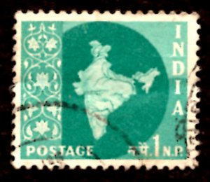 India 1np Map of India 1960 SG.399, Sc.302 Used (#08)