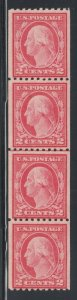US Sc 487 MLH. 1916 2c Washington Coil Joint Line Strip of 4, F-VF