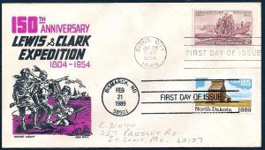 UNITED STATES FDC 25¢ North Dakota Statehood DUAL 1989 Boll