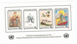 United Nations (New York) Scott #493 Souvenir Sheet of 4, World Federation of...
