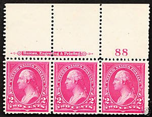 265 Mint,OG,NH... Imprint/Plate# strip of 3... SCV $315.00