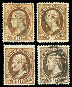 Scott 209 1882 10c Jefferson Issue Four Different Shades All Used F-VF Cat $24
