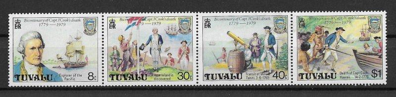Tuvalu MNH Strip 117a Captain Cook Death 1979