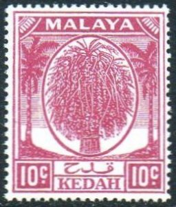 Kedah 1950 10c magenta MH
