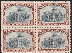 MEXICO 649, $1Peso PALACE OF FINE ARTS. BLOCK OF FOUR. Mint, NH. F-VF. (82)