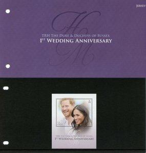 Jersey 2019 MNH Prince Harry Meghan 1st Wedding 1v M/S Pres Pack Royalty Stamps