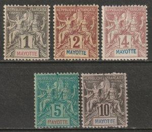 Mayotte 1892 Sc 1-5 partial set low values MH*
