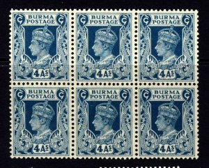BURMA King George VI 1938 4 As. Greenish-Blue BLOCK OF Six SG 28 MNH