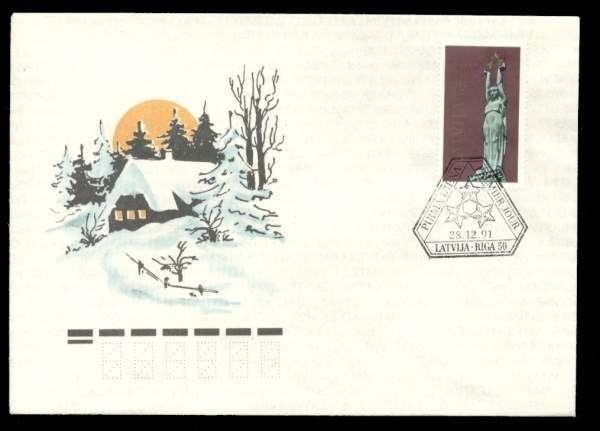 Latvia 1991 50k Liberty Monument FDC Winter Scene Cachet