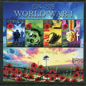 Curacao 2015 World War I, Poppies, Sheet of 4 Stamps, NH - Tank, Zeppelin