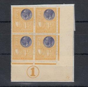 Malta KGV 1930 4 1/2d Control Block Of 4 SG201 MLH/MNH J6749