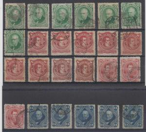 ARGENTINA 1877-87 ISSUES Sc 38-40, 38a, 39a & 56 (24x) SET SHADES USED SCV$37++