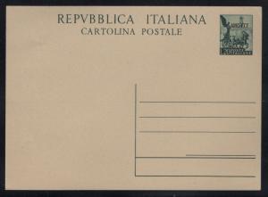 Italy Trieste AMG FTT Overprinted 1952 Victory on Quadriga 20L Postal Card