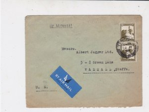 Palestine 1946 Airmail Label  Tel Aviv Cancel Stamps Cover to England Ref 34953