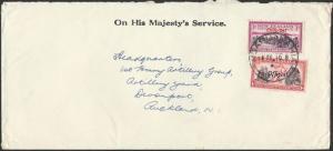 NEW ZEALAND 1940 OHMS cover - 1d & 3d Centenary OFFICIALS..................12307