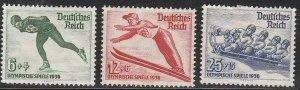Stamp Germany Mi 600-2 Sc B79-81 1936 3rd Reich Winter Olympics Skater MNG