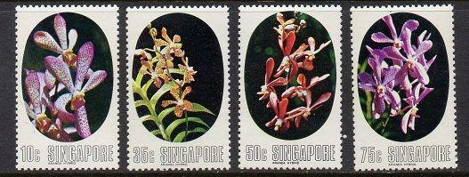 Singapore 1976 Flowers Orchids VF MNH (247-50)