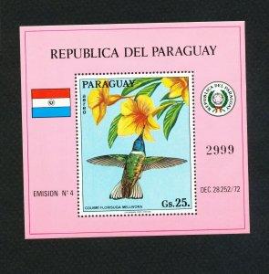 PARAGUAY - Scott 1523 -  VFMNH S/S - Hummingbird - bird topical - 1972
