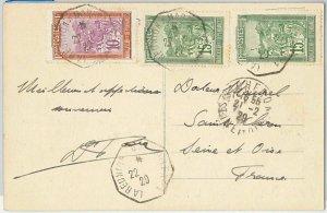 44977 -  MADAGASCAR -  POSTAL HISTORY: POSTCARD to FRANCE through REUNION - 1929