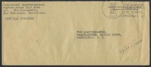 US SAMOA 1942 cover US NAVY / THE MARINES ARE COMING pmk used at Upolu.....50411
