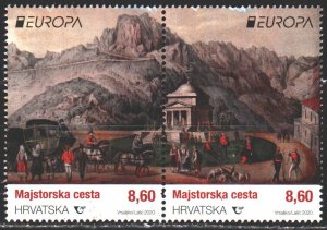 Croatia. 2020. 1353-54. Architecture, horsemen, europe-sept. MNH.