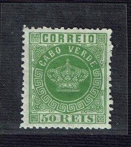 Cabo Verde 1877 Coroa 50 Reis MNG dent 12 1/2 #6