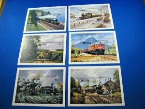 LIBERIA 1994  -  SCOTT # 1165-1170  6 TRAIN S/Ss MNH