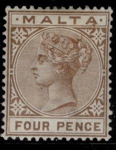 MALTA QV SG27, 4d brown, M MINT. Cat £11.