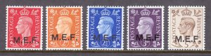 Great Britain (Middle East Forces) - Scott #1//5 - MNH - SCV $6.30