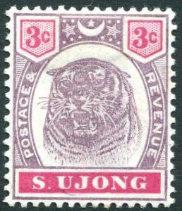 SUNGEI UJONG-1895 3c Dull Purple & Carmine Sg 55 MOUNTED MINT V31424