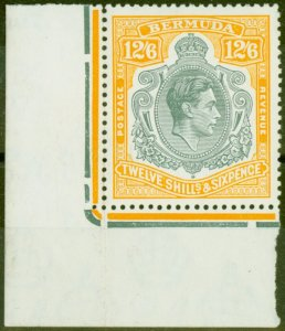 Bermuda 1950 12s6d Grey & Pale Orange SG120e V.F MNH Corner Marginal