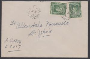 Newfoundland Sc 254 on 1945 Cover, BURLINGTON to ST. JOHN'S