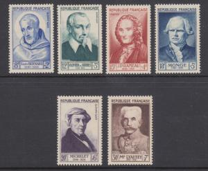 France Sc B276-B281 MNH. 1953 Famous Frenchmen, cplt set, VF