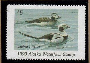 AK6 Alaska #6 State Waterfowl Duck Stamp - 1990 Oldsquaw