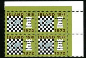 Iceland 1972 World Chess Championships. Fischer - Spasskij. Block of four. MNH
