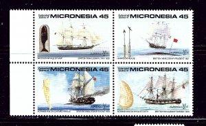 Micronesia 113a MNH 1990 Ships block of 4