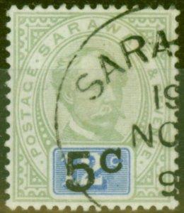 Sarawak 1891 5c on 12c Green & Blue SG26a Type 9 No Stop after C V.F.U