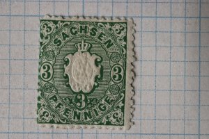 Germany Saxony sc#15 mi#14 or 15a? Mint MH blue Green or yellow green?