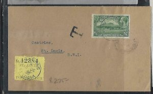 ST LUCIA  COVER (P0611B) 1932 INCOMING COVER FROM MONTSERRAT  POSTAGE DUE 2D