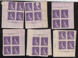 Canada - 1953 4c Violet QE Karsh Plate Blocks mint #328 Cat. $63.20 F-VF-NH