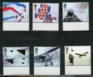 GREAT BRITAIN SCOTT# 2587/92 AIRCRAFT DESIGNS SET MINT NH