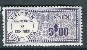 VIETNAM; Early CONG-HOA revenue issue Mint unused $5. value ( paper adhesion)