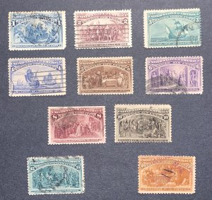 US 239-239 10 stamp set Columbian Commemoratives - Used average.