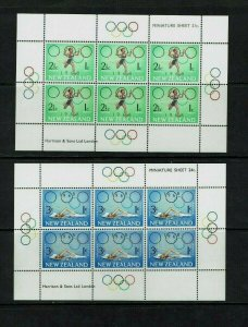 New Zealand: 1968 Health Stamps, Olympic Sports, 2 miniature sheets, MNH