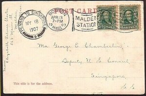 MALAYA 1907 postcard ex USA - PENANG TO SINGAPORE marine sorter cds........34606