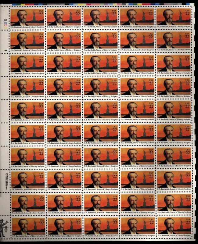 US Scott 2147 Fredric Barthodi  Mint NH sheet of 50 22 cents