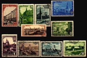 Russia Used Scott 1132 - 1133 , 1135 - 1142 w/ink markings on back o...