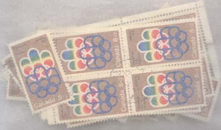 Canada Used #B1 1974 8c+2c Olympic Semi-Postal (100) Inc. Blocks F+-VF